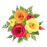 Bouquet of red, orange and yellow flowers. Vector illustration. Stock Image