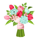 Bouquet of red, pink and blue flowers. Vector illustration. Stock Photo