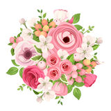 Bouquet of red and pink flowers. Vector illustration. Stock Photos