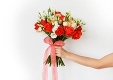 Bouquet of red and pink roses flowers  on grey Stock Photo