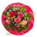 Bouquet of red and pink roses isolated on white Stock Image