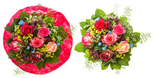 Bouquet of red and pink roses isolated on white Stock Images