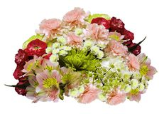 Bouquet of red-pink-yellow-white flowers on an isolated white background with clipping path. no shadows. Closeup. Roses cloves chr royalty free stock photography