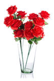 Bouquet of red plastic roses Stock Image