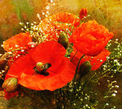 Bouquet of red poppies on grunge stained colorful background Royalty Free Stock Photos