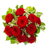 Bouquet of red rose flower isolated on white Stock Images