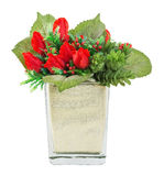 Bouquet of red rose and holly in glass vase. Bouquet of red rose, berry and holly in glass vase isolated on white Royalty Free Stock Image