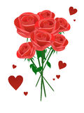 Bouquet of red roses. Illustration of red roses and hearts Royalty Free Stock Photography