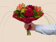 Bouquet of red roses. View bouquet of red roses and alstroemeria Royalty Free Stock Images