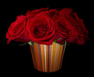 Bouquet of Red Roses. Bouquet of beautiful red roses on black background Royalty Free Stock Photos