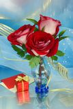 Bouquet with red roses. In a glass vase Royalty Free Stock Photo