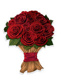 Bouquet of red roses. Vector illustration of bouquet of red roses Royalty Free Stock Photography