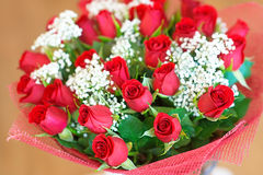 Bouquet of red roses. Beautiful large festive bouquet of red roses royalty free stock photo