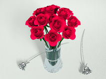 Bouquet of red roses. Three dimensional illustration of red roses in glass vase, white background Royalty Free Stock Photos