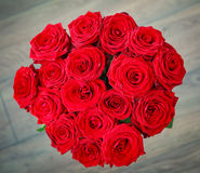 Bouquet of red roses from above Royalty Free Stock Photo