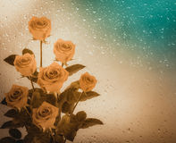 Bouquet of red roses on the background of a window with raindrop Royalty Free Stock Image