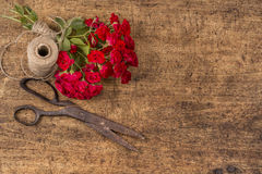 Bouquet of Red Roses, ball of Twine and Old Rusty Scissors Royalty Free Stock Photos