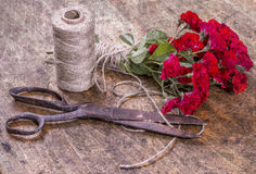 Bouquet of Red Roses, ball of Twine and Old Rusty Scissors on Wo Royalty Free Stock Image