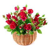Bouquet red roses in basket Stock Photo