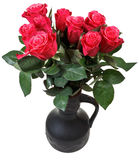 Bouquet of red roses in black ceramic jug Royalty Free Stock Image