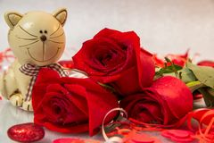Bouquet of red roses with a cat figurine royalty free stock photography