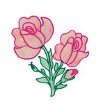 Bouquet of red roses. Children's drawing markers and crayons. Royalty Free Stock Photo
