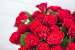Bouquet of red roses. Close up stock photo