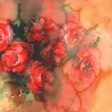 Red roses colorful background watercolor Stock Photo