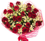 Bouquet of red roses and daisies Stock Photos