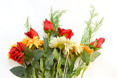 Bouquet of red roses and daisies royalty free stock photo