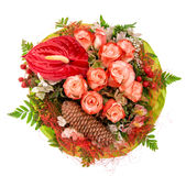 Bouquet of red roses with decorations Stock Photo