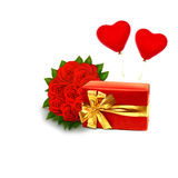 Bouquet of red roses with gift box Stock Image