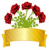 Bouquet of red roses and gold ribbon Royalty Free Stock Image