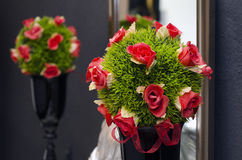 A bouquet with red roses and green Stock Photography