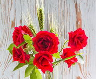 Bouquet of red roses with green ears of wheat Stock Photography