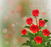 Bouquet of red roses with green leaves Stock Photo