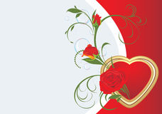 Bouquet of red roses with heart. Valentines card Stock Image