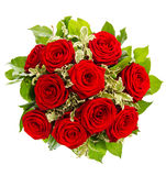 Bouquet of red roses isolated on white Royalty Free Stock Photography