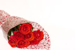 Bouquet of red roses lies on a white background royalty free stock images
