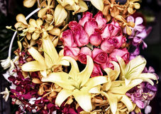 Bouquet with red roses, lily and orchid Stock Photography