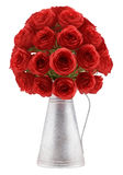 Bouquet of red roses in metallic vase isolated on white Royalty Free Stock Photos