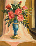 Bouquet of red roses. An oil painting on canvas of a vivid bouquet of red roses over a yellow brown background Stock Image