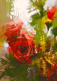 Bouquet of red roses. Bouquet red roses in oil painting style,illustration Royalty Free Stock Photos