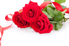 Bouquet of red roses with ribbon border Stock Photo