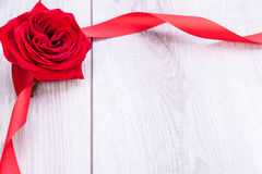 Bouquet of red roses with ribbon border Stock Photography