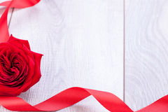Bouquet of red roses with ribbon border Royalty Free Stock Image