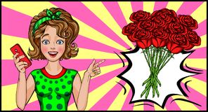 Girl in the style of pop art. A bouquet of red roses. Selfie with a bouquet of flowers. pop art vector illustration stock illustration