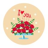 Bouquet of red roses in a vase stock illustration