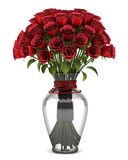 Bouquet of red roses in vase isolated on white Stock Images