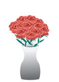 Bouquet of red roses in a vase Stock Photography